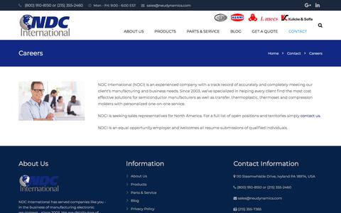 Screenshot of Jobs Page ndc-int.com - Careers - NDC International - captured July 8, 2018