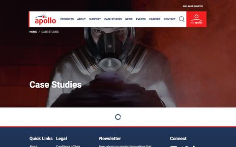 Screenshot of Case Studies Page apollo-fire.co.uk - Case Studies   Apollo Fire Detectors - captured Sept. 25, 2018