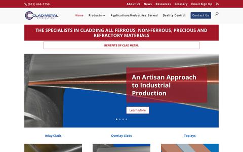 Screenshot of Home Page cladmetal.com - Metal Cladding Services, Metal Composites - Clad Metal Specialties - captured Sept. 28, 2018
