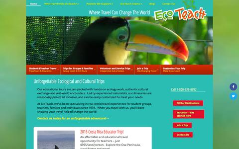 Screenshot of Home Page ecoteach.com - EcoTeach specializes in educational tours focused on hands-on ecology work for students & teachers. | EcoTeach - captured Oct. 10, 2015