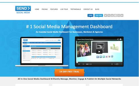 Screenshot of Home Page sendsocialmedia.com - Social Media Dashboard For Businesses – Send Social Media - captured Sept. 23, 2014