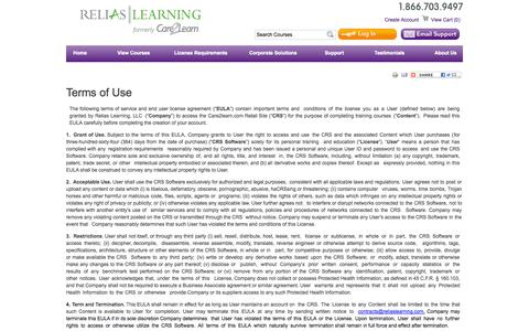 Screenshot of Terms Page care2learn.com - Terms of Use | RedVector - captured Oct. 22, 2014