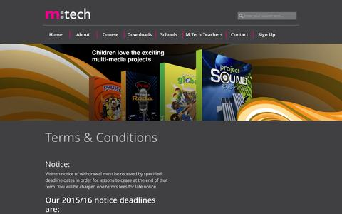 Screenshot of Terms Page mtechonline.co.uk - Terms & Conditions | M:Tech : Music Technology For Schools - captured Feb. 3, 2016