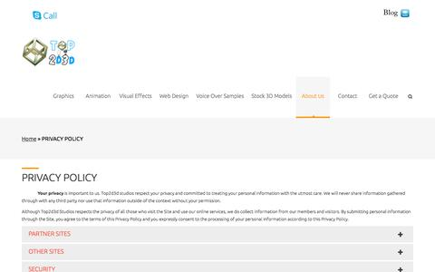 Screenshot of Privacy Page top2d3d.com - PRIVACY POLICY | Animated Video Production Studio - captured Oct. 1, 2014