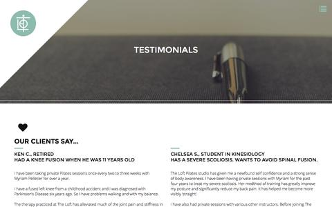 Screenshot of Testimonials Page theloftpilates.com - Testimonials - My Site - captured Feb. 28, 2016