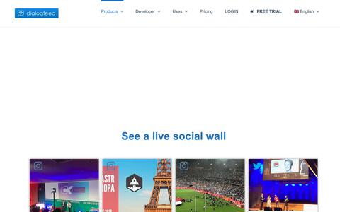 Screenshot of Products Page dialogfeed.com - Create a Social Wall - Display a social feed on website - - captured July 13, 2018