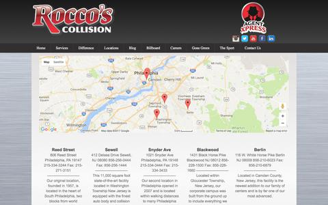 Screenshot of Locations Page roccoscollision.com - Locations - Rocco's Collision - captured Oct. 22, 2017