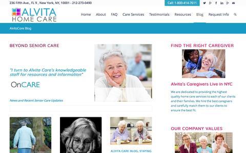 Screenshot of Blog alvitacare.com - Alvita Care Blog for Information & News   AlvitaCare NYC - captured May 29, 2017