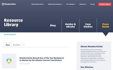 Screenshot of Press Page memberclicks.com - Press Room - captured July 23, 2019
