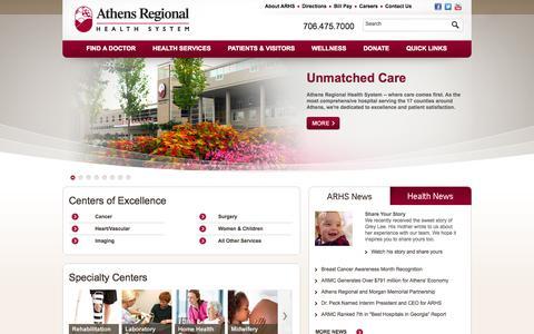 Screenshot of Home Page athenshealth.org - Athens Regional Health System - Athens, Georgia (GA) Hospitals - captured Oct. 4, 2014