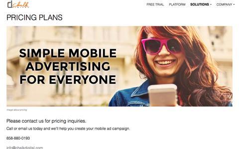 Screenshot of Pricing Page chalkdigital.com - Chalk Digital- Pricing - captured Jan. 27, 2016