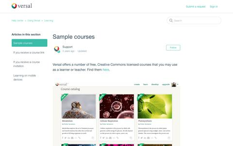 Screenshot of Support Page versal.com - Sample courses – Help center - captured Dec. 3, 2019