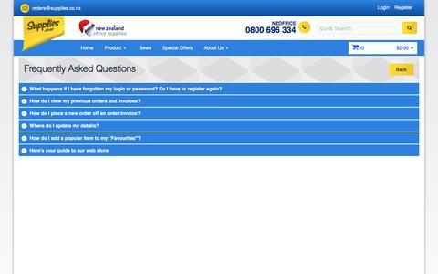 Screenshot of FAQ Page supplies.co.nz - Frequently Asked Questions - captured Dec. 2, 2016
