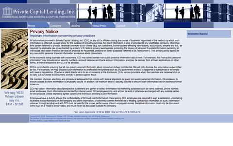Screenshot of Privacy Page privatecapitallending.com - Private Capital Lending, Inc. - Privacy Policy - captured Sept. 30, 2014
