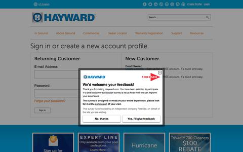 Screenshot of Login Page hayward-pool.com - Sign in or create a new account profile - captured Nov. 12, 2017