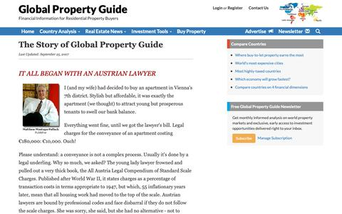 Screenshot of About Page globalpropertyguide.com - The Story of Global Property Guide - captured Dec. 8, 2018