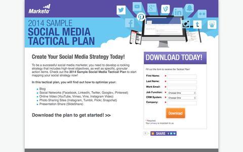 Screenshot of Landing Page marketo.com - 2014 Sample Social Media Tactical Plan - captured May 10, 2016