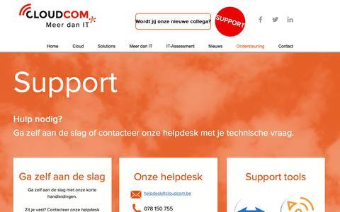 Screenshot of Support Page cloudcom.be - Support | CloudCom - captured Sept. 28, 2018