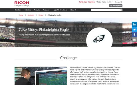 Screenshot of Case Studies Page ricoh-usa.com - Philadelphia Eagles - captured Jan. 3, 2019