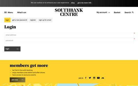 Screenshot of Login Page southbankcentre.co.uk - Southbank Centre | Login - captured Sept. 21, 2018