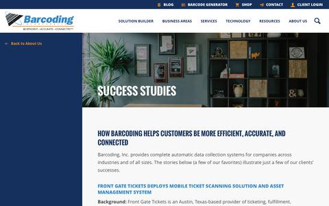 Screenshot of Case Studies Page barcoding.com - Success Studies - Barcoding, Inc. - Barcoding, Inc. - captured Nov. 22, 2016