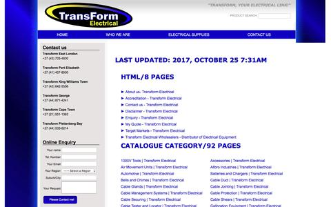 Screenshot of Site Map Page transform.co.za - Sitemap - Transform Electrical - captured Oct. 27, 2017
