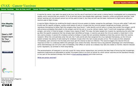 Screenshot of Home Page cvax.org - CVAX: The Cancer Vaccine Magazine - captured Sept. 26, 2014