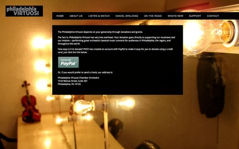 Screenshot of Support Page pvco.org - Philadelphia Virtuosi Chamber Orchestra PVCO - captured Oct. 2, 2014