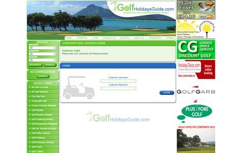 Screenshot of Login Page golfholidaysguide.com - Golf Holidays Guide - captured June 13, 2016