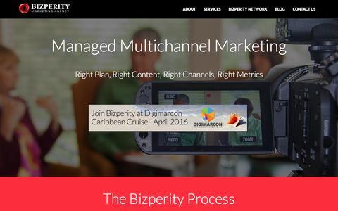 Screenshot of Home Page bizperity.com - Bizperity Marketing Agency - The Woodlands, Texas - captured Jan. 4, 2016