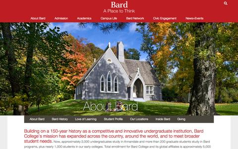 Screenshot of About Page bard.edu - About Bard College - captured Oct. 2, 2015