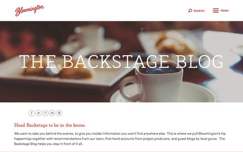 Screenshot of Blog visitbloomington.com - The Backstage Blog | Visit Bloomington, Indiana Blog - captured Dec. 27, 2016