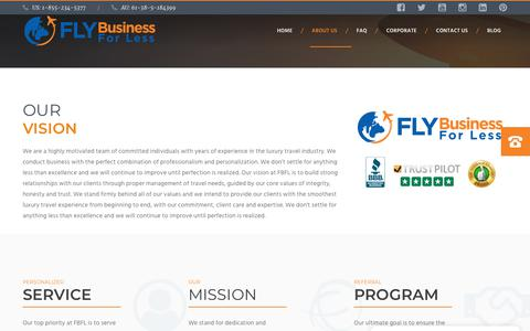 Screenshot of About Page flybusinessforless.com - About Us – Fly Business For Less - captured Nov. 6, 2018