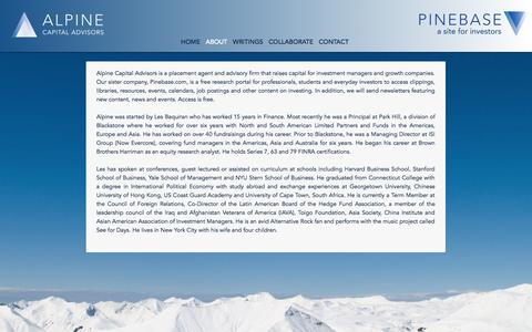 Screenshot of About Page alpineca.com - About | Alpine Capital Advisors - captured Oct. 4, 2014