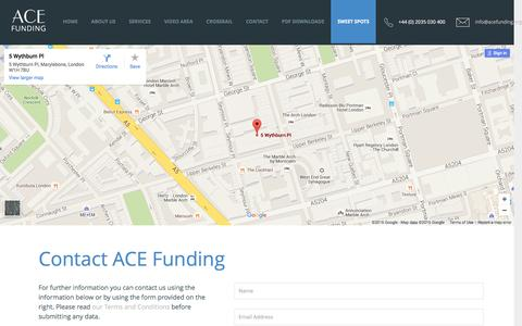 Screenshot of Contact Page acefunding.org - Contact ACE Funding - ACE Funding Contact us   ACE Funding Ltd - captured Feb. 4, 2016