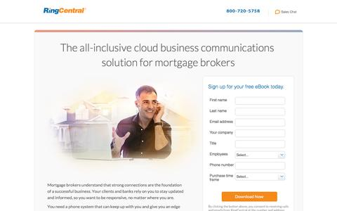Screenshot of Landing Page ringcentral.com - Cloud Communications Help Mortgage Brokers Stay Connected - captured Jan. 7, 2017