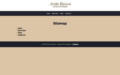 Screenshot of Site Map Page arniebrown.com - Sitemap | Arnie Brown - Custom Car Badges - captured Sept. 23, 2018