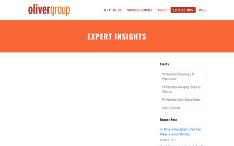Expert Insights - Oliver Group