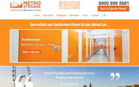 Screenshot of Testimonials Page metro-storage.co.uk - Testimonials & Reviews Of Our London Self Storage | Metro Storage - captured Oct. 18, 2018