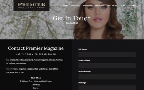 Screenshot of Contact Page premiermagazine.biz - CONTACT - Premier Magazine - captured Oct. 18, 2018