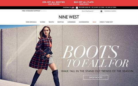 Screenshot of Home Page ninewest.com - Shoes for Women | Handbags for Women | Nine West - captured Oct. 1, 2015
