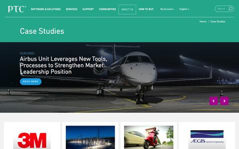 Screenshot of Case Studies Page ptc.com - Case Studies | PTC - captured Jan. 13, 2016