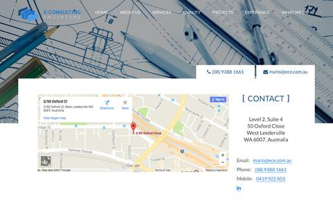 Screenshot of Contact Page ece.com.au - Consulting Engineers - Contact Details - captured Oct. 13, 2017