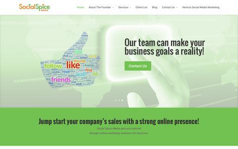 Screenshot of Home Page socialspicemedia.com - Social Media & Brand Marketing Company Ventura County - captured Feb. 22, 2016