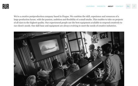 Screenshot of About Page rur.cz - RUR postproduction - captured Aug. 11, 2016