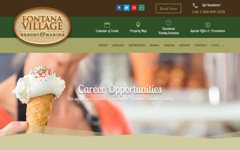 Screenshot of Jobs Page fontanavillage.com - Careers | Fontana Village Resort Smoky Mountain Resort & Marina - captured Oct. 10, 2018