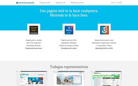 Screenshot of Home Page marmola.com - Desarrollo web a medida, Diseño web y Marketing Online en Madrid - Marmola.com - captured Oct. 17, 2017