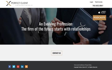 Screenshot of Home Page myperfectclient.com - Relationship Training for Financial Professionals | Perfect Client - captured July 21, 2017