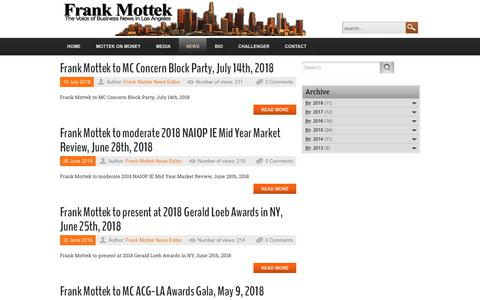 Screenshot of Press Page frankmottek.com - News about Frank Mottek - captured Oct. 25, 2018