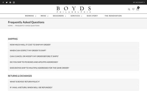 Screenshot of FAQ Page boydsphila.com - Frequently Asked Questions                      – Boyds Philadelphia - captured Oct. 7, 2017